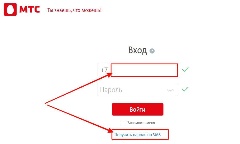 Получить пароль по SMS