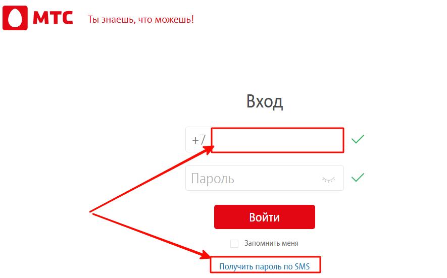 Получите пароль по SMS